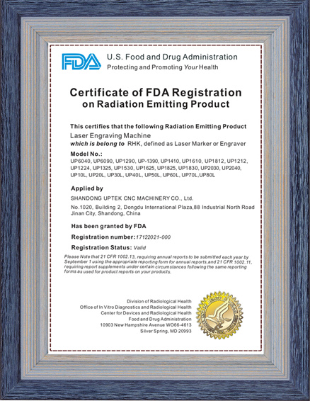 FDA Certificate of Co2 Laser Cutting Engraving Machine